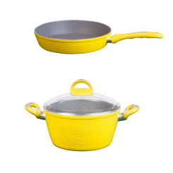 سرویس قابلمه زوپینی مدل گرانیت رنگ زرد 3 پارچه