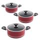 سرویس قابلمه زوپینی مدل گرانیت 6 پارچه رنگ قرمز