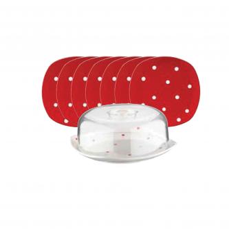 کیک خوری لاویوا مدل پونتو 8 پارچه رنگ قرمز