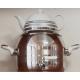 ست کتری شیردار استیل 4/5 لیتری و قوری چینی